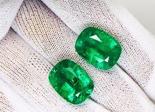 19.81 Ct / 2 Pcs Fine Natural Emerald Cushion Zambia UnTreated LooseGem Stone
