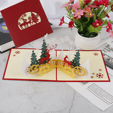 3D Merry Christmas cards green forest red reindeer Gift Cards New Year Greeti Ww