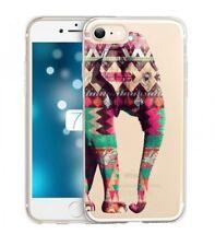 Coque Iphone 7 Iphone 8 Elephant rose vert blanc Aztec indien transparent