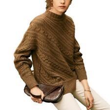 Women Twist-knit Mock Neck Pullover Cashmere Sweater Warm Casual Winter Jumper L
