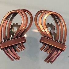 Vintage Estate Jewelry Gorgeous Copper Clip On Earrings Signed By Renoir 1950's