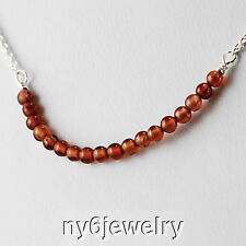 "& Clasp 16"" January Birthstone! Natural Garnet Necklace w/Sterling Silver Chain"