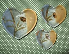 Set of 3 Handmade Pottery HEART SHAPED Nesting Bowls ~ Valentine's Day