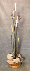 Modernist Vintage Cattails Lily Pad Sculpture MCM Brass & Pottery
