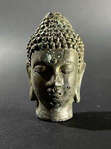ANCIENT GANDHARA DETAILED BRONZE BUDDHA HEAD - STUNNING EXAMPLE