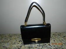 VTG 1950s KORET BLACK LEATHER HANDBAG/SHOULDER BAG BRASS ACCENTS SLIDE HANDLE