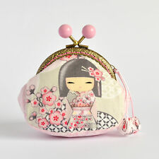 Hand crafted grey and pink Kimmidoll coin purse collectable #0037