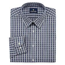 Stafford Dress Shirt Mens 18 34 35 Navy Plaid Long Sleeve Regular Wrinkle Free