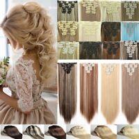 Hair Extensions long black brown blonde clip in hair curly full head Feels Human