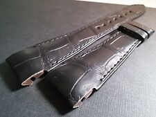 Leon Hatot band, BLACK, crocodile, 20/16mm (20mm at watch 16mm at the clasp) NOS