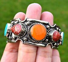 Nepal Tibetan Silver Cuff Bracelet Tibet Turquoise Coral Amber Ethnic Jewelry