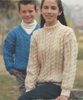 """Girls, Boys Cable Sweaters Knitting Pattern V and Round neck DK 24-34"""" 1036"""