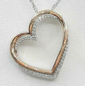 Genuine .22ctw H-SI Diamond Solid 10K Rose Gold 925 Sterling Silver Necklace 3g