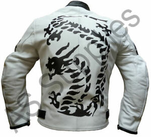 """Dragon Leather Motorcycle Jacket DRACO neXus White - M 40"""" chest - CLEARANCE"""