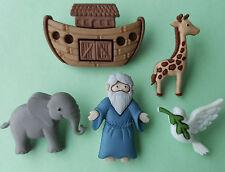 Noah's Ark Biblia cristiana Paloma Jirafa Elefante Animal Dress It Up Craft botón