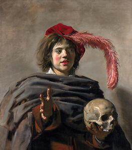 Frans Hals - Young Man with a Skull, Museum Art, Canvas Print