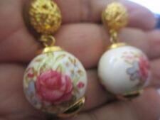 WHITE GLASS BALL W/ RoseS Drop Earrings-71