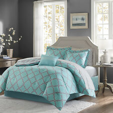 Aqua Grey Purple Fretwork Reversible 9 pcs Comforter Sheets Cal King Queen Queen