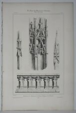 Lithography Spires and Balustrades of the Tour St-Jacques of the Butcher