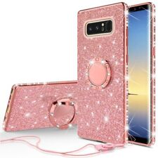 Samsung Galaxy Note 8 Glitter Bling Phone Case Girls Ring Kickstand Rose Gold