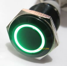12V Waterproof Black Aluminum Metal Latching Push Button Switch Green Led 19mm