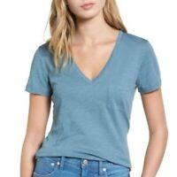 NWT Madewell Womens SZ-M  Whisper Cotton V-neck Pocket Tee In Artisan Blue