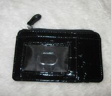 PU  WOMEN'S Credit card Coin Wallet Zips Ladies Black