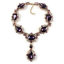 Collier Doré Pendantif Goutte Violet Cristal Vintage Mariage OSC3