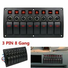 8 Gang 12-24V Red LED Rocker Switch Control Panel Circuit Breaker Car Auto Boat