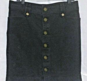 Skirt mini american living black Cotton logo brass buttons pockets women 12 nice