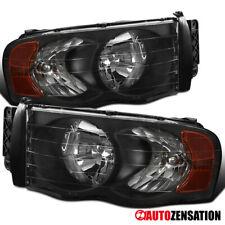 For 2002-2005 Dodge RAM 1500 2500 3500 Black Headlights Lamps Pair+Amber