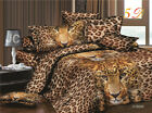 3D Duvet Cover Pillowcases Quilt Cover Bedding Set Queen King Brown Leopard