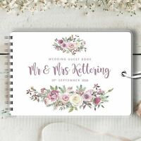 Personalised Wedding Guest Book, Frosted Rose, Blank Message Book, Photo Album