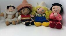 DISNEY Small World Plush Dolls Alaska Boy, Mexico Boy, Holland Girl, Japan Girl