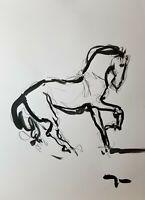"JOSE TRUJILLO - Acrylic Painting Abstract 18x24"" Horse Figurative Art SIGNED"