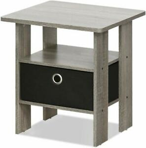 Furinno Living Room End Side Table with Drawer - French Oak Grey