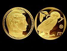 GREEK GODDESS ATHENA WITH FAVORITE OWL OF ATTICA 24K GOLD LAYER