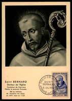 FRANCE MK 1953 ST. BERNARD ABBOT MAXIMUMKARTE CARTE MAXIMUM CARD MC CM df32