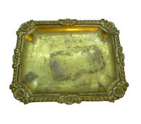 Vintage Brass Floral Vanity Tray hand signed on back from India