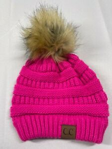 CC Beanie Pink Fur Poof Knit Winter Hat