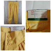 Vintage NWT Gitano Yellow Dress Slacks Pants Size 14S Short Pleated Tapered Leg