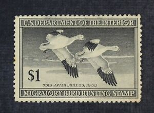 CKStamps: US Federal Duck Stamps Scott#RW14 $1 Mint H OG Gum Dist Crease