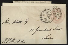 1856 Great Britain postal stat cover front paste-up onto letter w/Manchester pmk