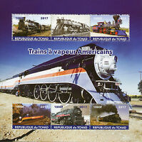 Chad 2017 CTO American Steam Trains Engines Locomotives 6v M/S Railways Stamps