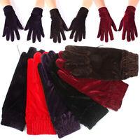 Elegant Women Velvet Elastic Gloves Winter Warm Soft Thermal Full Finger Mittens