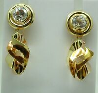 Beautiful Pair of 18ct Gold And Stone Set Dropper Earrings