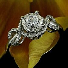 Engagement Ring Band 925 Sterling Silver Cz Round Cut Twisted Shank Unique