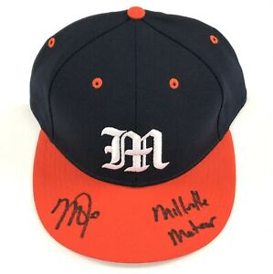 """Mike Trout """"Millville Meteor"""" signed Millville High School hat MLB Hologram Holo"""