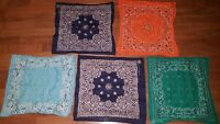 Lot 5 Vintage Bandanas Motorcycle Biker Headwrap Paisley Red Blue Orange Green