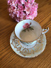 Paragon Teacup Tea cup And Saucer Mint Green Red Cabbage Rose Gold Filigree E87C